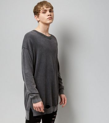 Dark Grey Washed Oversized Jumper