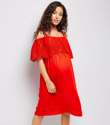 Maternity Red Broderie Cold Shoulder Dress