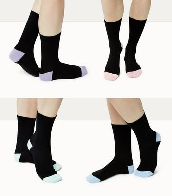 4 Pack Black Contrast Trim Ankle Socks