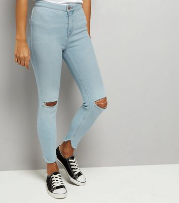 Petite Pale Blue High Waist Split Hem Skinny Hallie Jeans