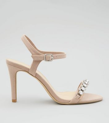 Wide Fit Nude Pink Gem Stone Strap Heeled Sandals