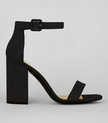 Black Suedette Barely There Block Heels