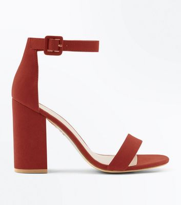 Rust Suedette Barely There Block Heels