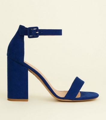 Bright Blue Suedette Barely There Block Heels
