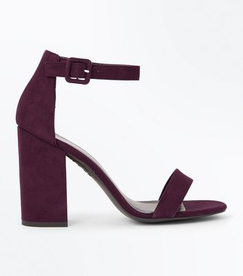 Dark Purple Ankle Strap Block Heels