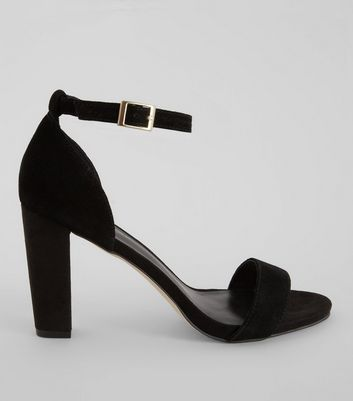 Black Suede Ankle Strap Heeled Sandals