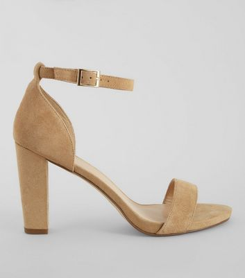 Camel Ankle Strap Heeled Sandals