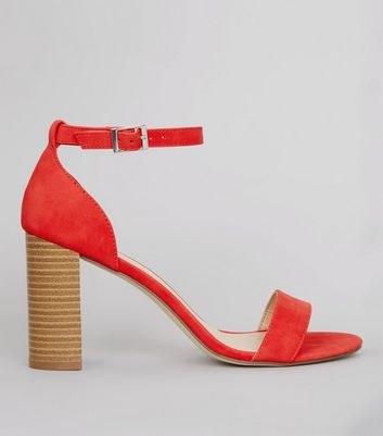 Red Ankle Strap Heeled Sandals