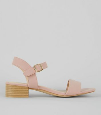 Pink Ankle Strap Low Block Heel Sandals