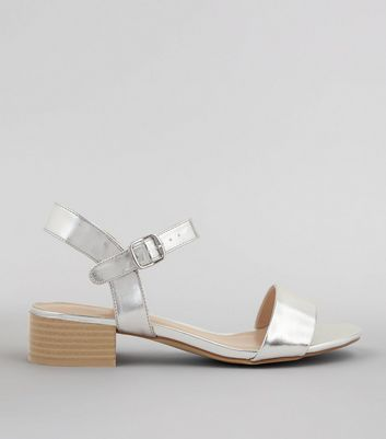 Silver Metalic Open Toe Block Heel Sandals