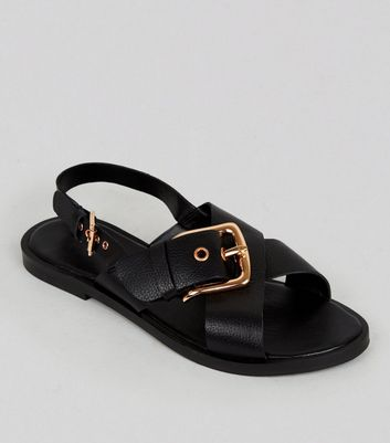 Wide Fit Black Leather Cross Buckle Strap Sandals