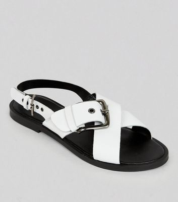 Wide Fit White Leather Cross Buckle Strap Sandals