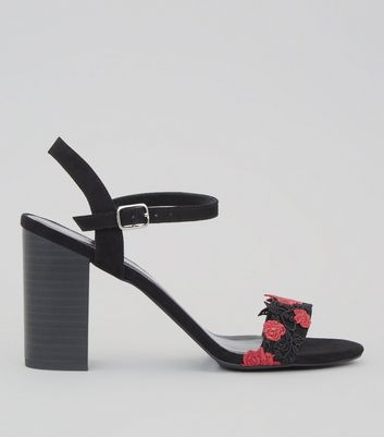 Black Suedette Floral Embroidered Lace Heeled Sandals
