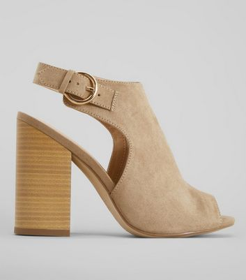 Light Brown Suedette Peeptoe Block Heels