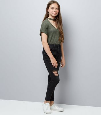 Teens Black Ripped Skinny Jeans