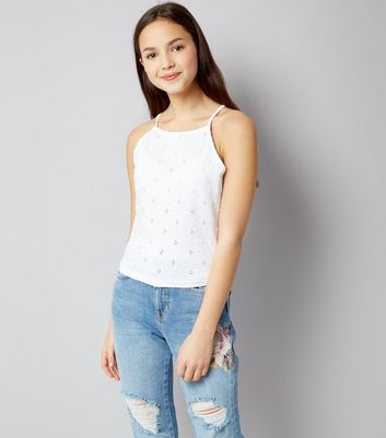 Teens White Broderie High Neck Cami