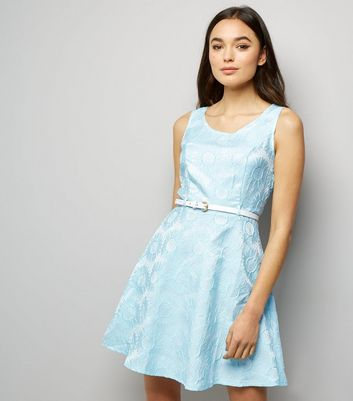 Mela Pale Blue Daisy Embossed Dress