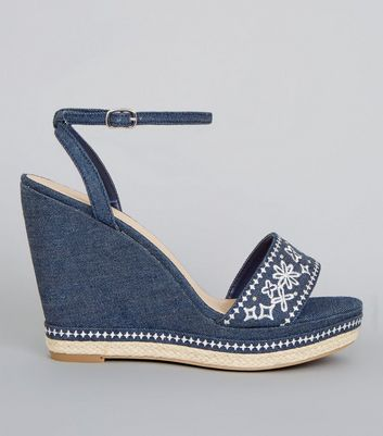 Blue Denim Floral Embroidered Wedge Heels