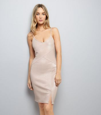 Shell Pink Metallic Panelled Bodycon Dress