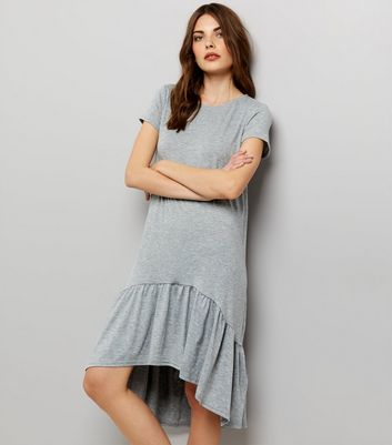 Grey Short Sleeve Drop Hem Dress