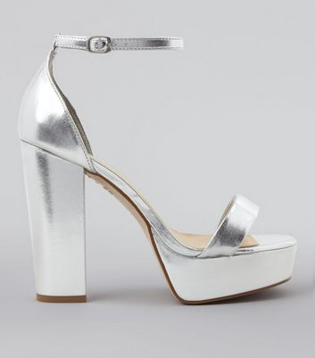 Wide Fit Silver Metallic Platform Heels