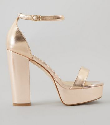 Wide Fit Rose Gold Metallic Platform Heels