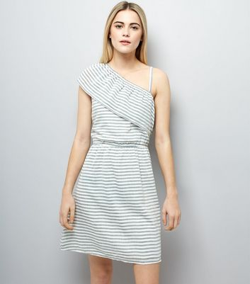White Stripe Frill Trim Off the Shoulder Dress