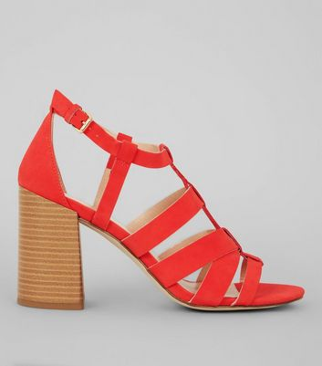 Red Gladiator Heeled Sandals