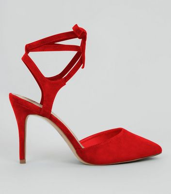 Red Comfort Suedette Lace Up Heels