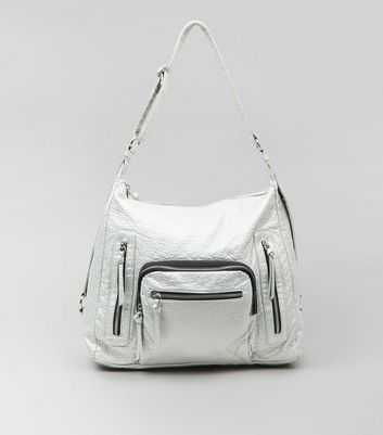 Silver Metallic Oversized Bag