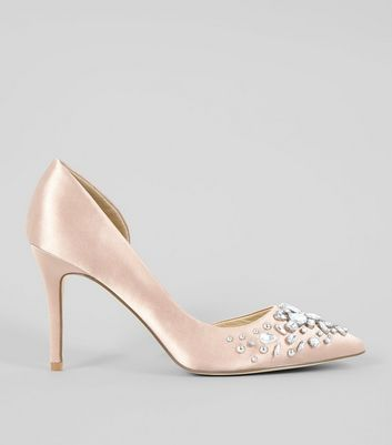 Pink Satin Embellished Court Shoes