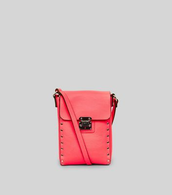 Neon Pink Studded Cross Body Bag