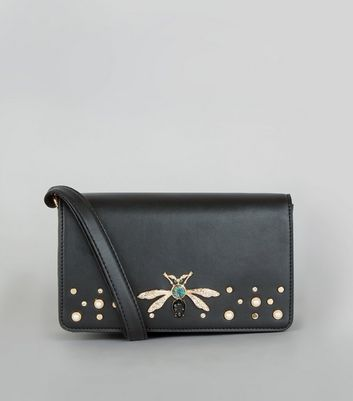 Black Dragonfly Embellished Shoulder Bag