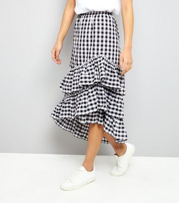 Black Gingham Frill Trim Midi Skirt