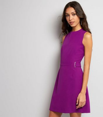 Purple Eyelet Trim Sleeveless Dress