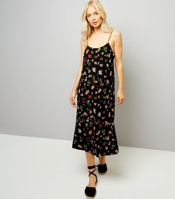Motel Black Floral Print Slip Maxi Dress