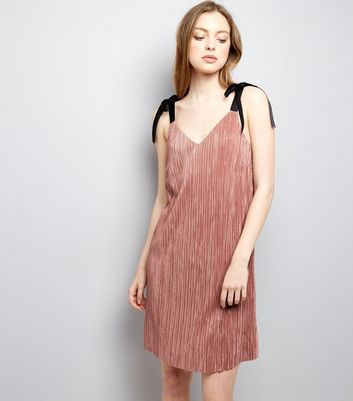 Shell Pink Tie Strap Pleated Slip Dress