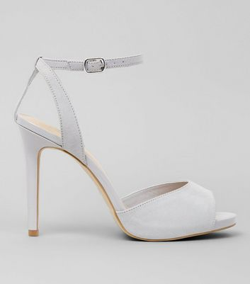 Wide Fit Grey Suedette Ankle Strap Heels