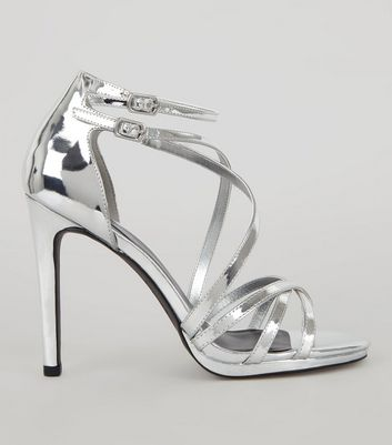 Silver Multi Strap Cross Front Heeled Sandals