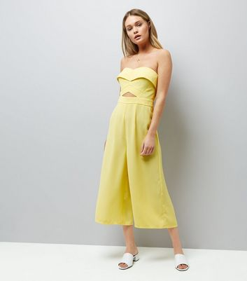 Yellow Cut Out Front Culotte Jumpsuit