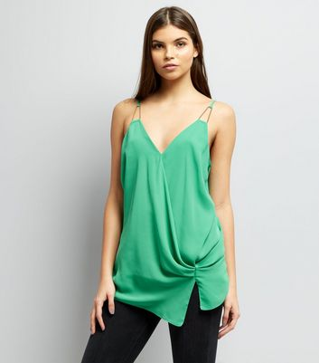 Green Knot Side Wrap Front Cami Top