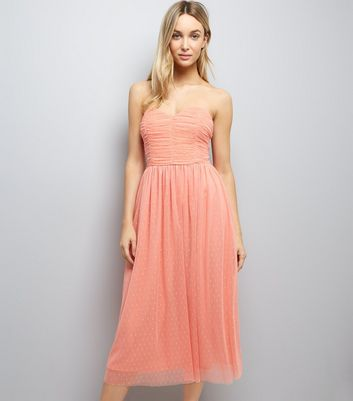 Coral Premium Mesh Bandeau Dress