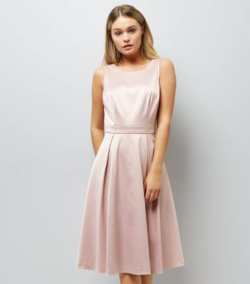 Pink Sateen Midi Prom Dress