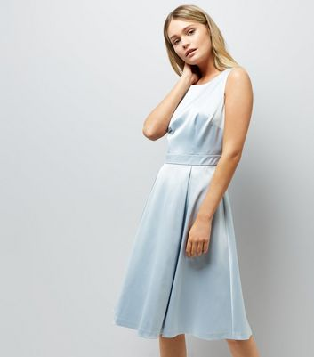 Pale Blue Sateen Midi Prom Dress