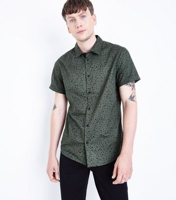 Green Splatter Print Short Sleeve Shirt
