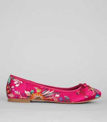 Wide Fit Pink Floral Brocade Ballet Pumps