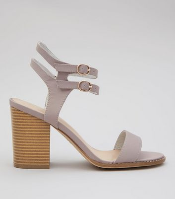 Wide Fit Grey Double Ankle Strap Block Heels