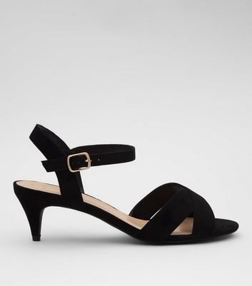 Wide Fit Black Suedette Cross Strap Kitten Heels