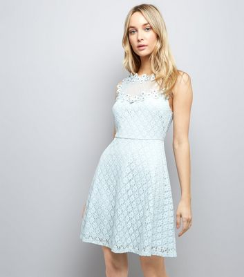 Pale Blue Lace Embellished Sleeveless Skater Dress