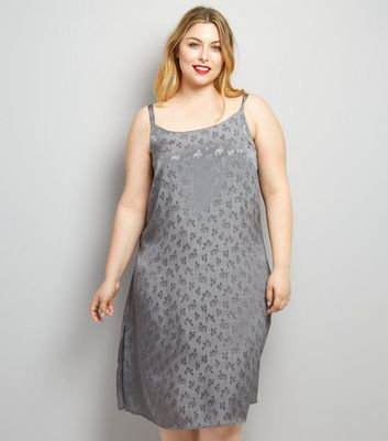 Curves Grey Sateen Floral Jacquard Slip Dress